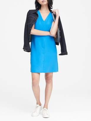 Banana Republic Petite Pleated-Shoulder Shift Dress