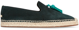 Burberry - Tasseled Leather And Suede Espadrilles - Dark green $425 thestylecure.com