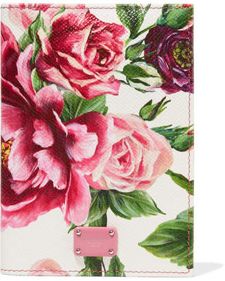 Dolce & Gabbana Floral-print Textured-leather Passport Cover - White