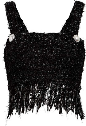 Balmain Fringed Tweed Flecked Cropped Top