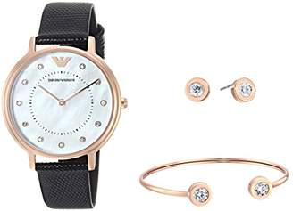 Emporio Armani Women's 'Dress' Quartz Stainless Steel and Leather Casual Watch