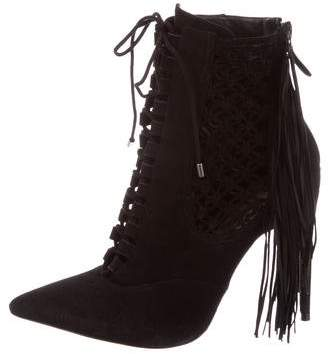 Alexandre Birman Lace-Up Fringe Booties