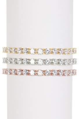 Savvy Cie Tricolor CZ Tennis Bracelets - Set of 3