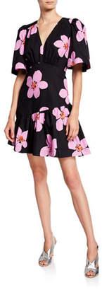 Kate Spade Grand Flora V-Neck Short-Sleeve Empire-Waist Dress