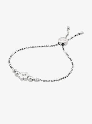 Michael Kors Pave Silver-Tone Floral Slider Bracelet