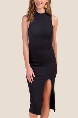 francesca's Martina Front Slit Midi Dress - Black