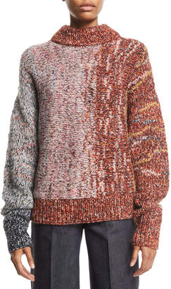 Victoria Beckham Crewneck Long-Sleeve Multi-Yarn Chunky-Knit Wool-Blend Sweater