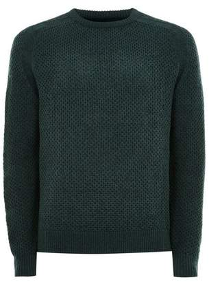 Topman Mens Green and Navy Stitch Jumper