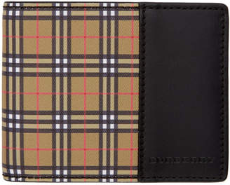 Burberry Yellow and Black Check Bifold Wallet