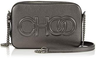 Jimmy Choo BALTI Anthracite Metallic Nappa Embossed Choo Logo Mini Bag