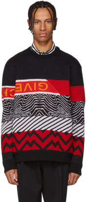 Givenchy Black and Red Mixed Media Logo Sweater