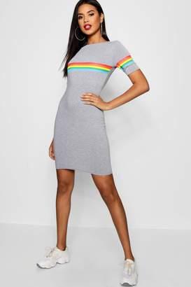 boohoo Rainbow Placement Short Sleeve Mini Dress