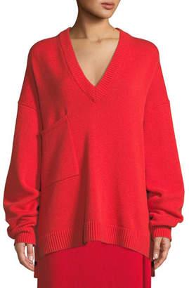Tibi Deep-V Long-Sleeve Oversized Cashmere Sweater w/ Patch Pocket