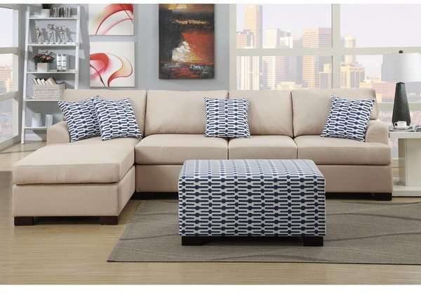 Moss Large 2-piece Blended Linen Sectional Sofa with Matching Ottoman