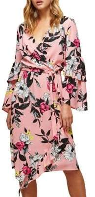Miss Selfridge Floral Tiered-Sleeve Wrap Dress