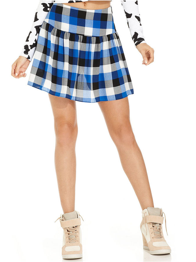 Monroe Marilyn Juniors Skirt, Drop-Waist Plaid-Print A-Line
