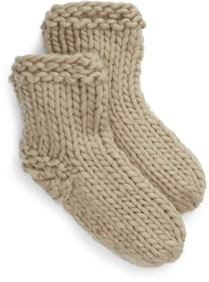 Lemon Adirondack Slipper Socks with Faux Fur Lining