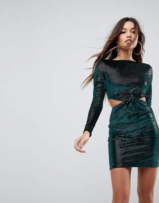 Asos Design Twist Front Cut Out Glitter Velvet Mini Dress