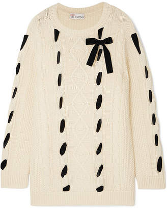 RED Valentino Embroidered Cable-knit Wool Sweater