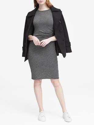 Banana Republic Petite Cozy Knit Long-Sleeve Ruched-Side Dress