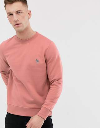 Paul Smith crew neck zebra logo sweat in pink