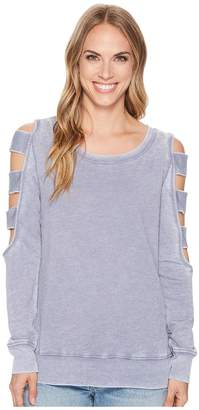 Allen Allen Open Cut Stripe Sleeve Top Women's Short Sleeve Pullover