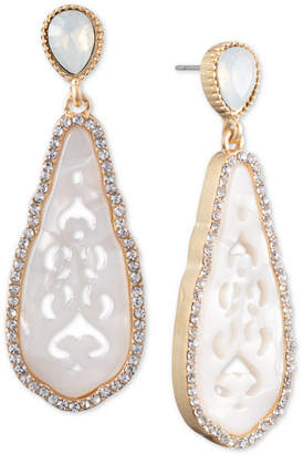 lonna & lilly Gold-tone Stone & Crystal Cut-Out Drop Earrings