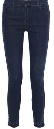 J Brand 620 Braided Mid-Rise Skinny Jeans
