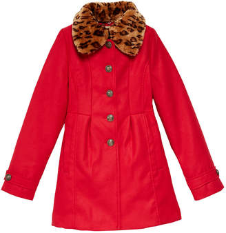 Jessica Simpson Big Girls Coat with Removable Faux-Fur Collar