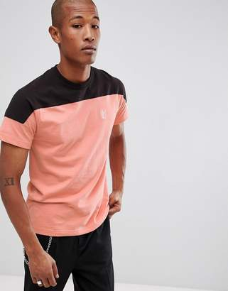 HUF Camino t-shirt with contrast panel in coral