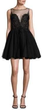 Basix II Black Label Fit-&-Flare Illusion Dress
