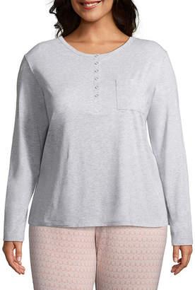 Liz Claiborne Knit Long Sleeve Henley Neck Nightshirt-Plus
