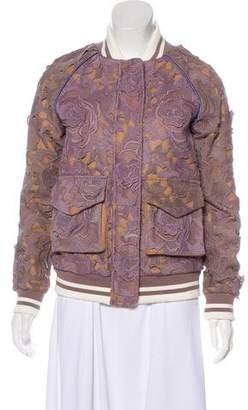 Self-Portrait Wool-Blend Bomber Jacket w/ Tags