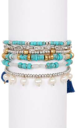 Lucky Brand Turquoise & 8-10mm Pearl Beaded Layer Bracelet