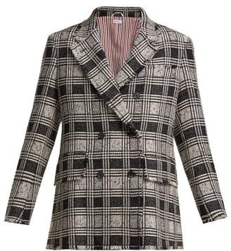 Thom Browne Prince Of Wales Check Wool Blend Tweed Blazer - Womens - Black White
