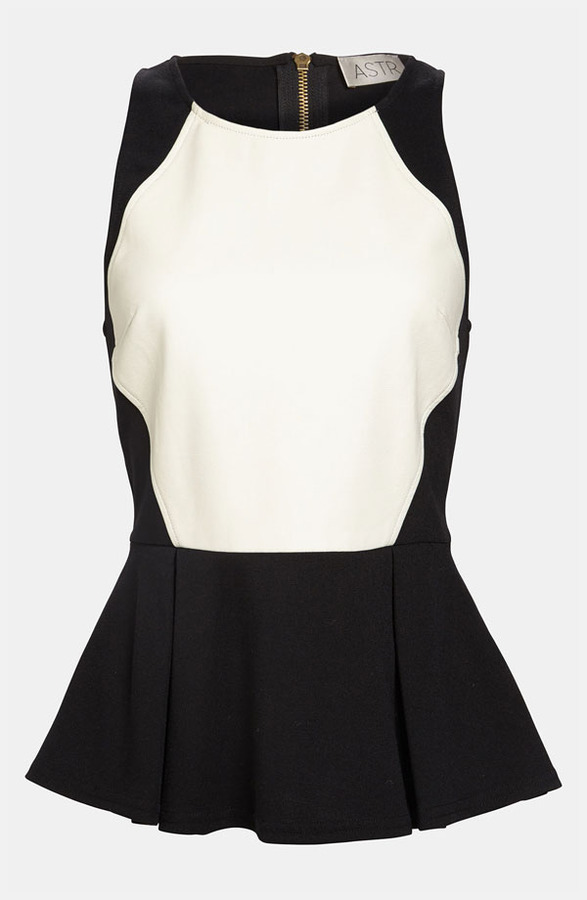 ASTR Faux Leather Front Peplum Tank