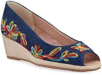 Sesto Meucci Balmy Embroidered Denim Peep-Toe Pumps