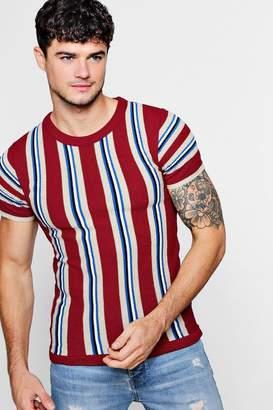 boohoo Colour Block Stripe Knitted T-Shirt