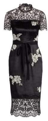 Erdem Keni Embellished Lace & Velvet Midi Dress