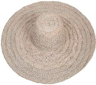 Black Natural Floppy Brim Straw Sun Hat