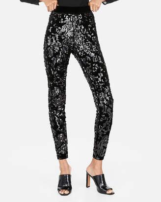 Express High Waisted Velvet Sequin Leggings