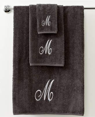 """Avanti Bath Towels, Monogram Initial Script Granite and Silver 16"""" x 30"""" Hand Towel Bedding"""