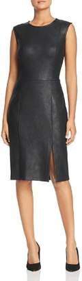 Leota Nora Faux-Leather Sleeveless Sheath Dress