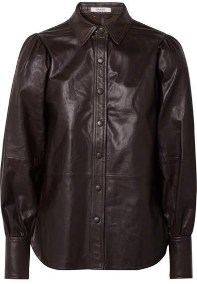 GANNI - Rhinehart Leather Shirt - Dark brown