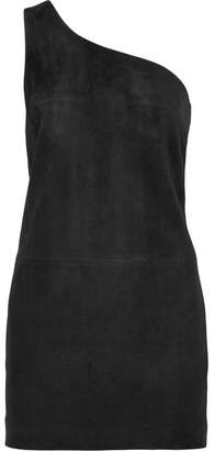 Saint Laurent One-shoulder Suede Mini Dress - Black