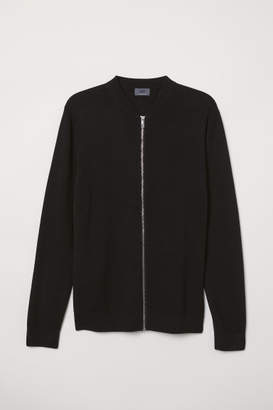 H&M Long-staple Cotton Cardigan - Black