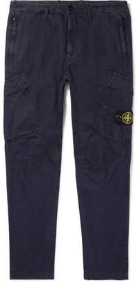 Stone Island Navy Slim-Fit Tapered Logo-Appliqued Cotton Cargo Trousers
