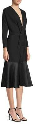 Derek Lam Satin Hem V-Neck A-Line Dress