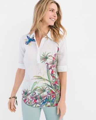 No Iron Linen Whimsical Garden Pullover