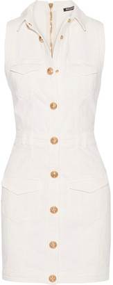 Balmain - Stretch-denim Mini Dress - White $1,965 thestylecure.com
